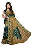 Divine International Women's Art Silk New Border Bandhani Sarees (Biege + Green)