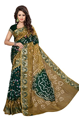 Divine International Women's Art Silk New Border Bandhani Sarees (Biege + Green) by Divine International Trading co
