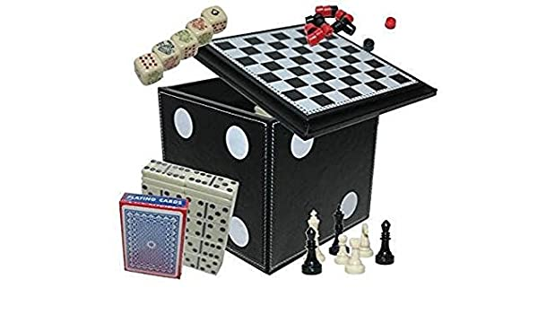 CHH 5 In 1 Dice Cube Game Set Chess//Dominoes//PokerDice// Playing Cards 5 Game Combination Set Black Getting Fit 2196-BLK
