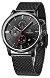 Gosasa Mens Black Dial Military Stainless Steel Chronograph Quartz Wrist Watch