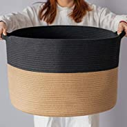 "INDRESSME XXXLarge Cotton Rope Basket 21.7"" x 21.7"" x 13.8"" Woven Wicker Basket Baby Laundry Ba"