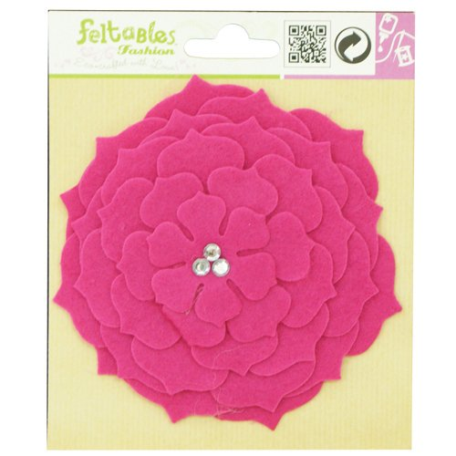 Feltables Fashion Pink Flower w/3 Crystal Jewels in Center [Misc.]