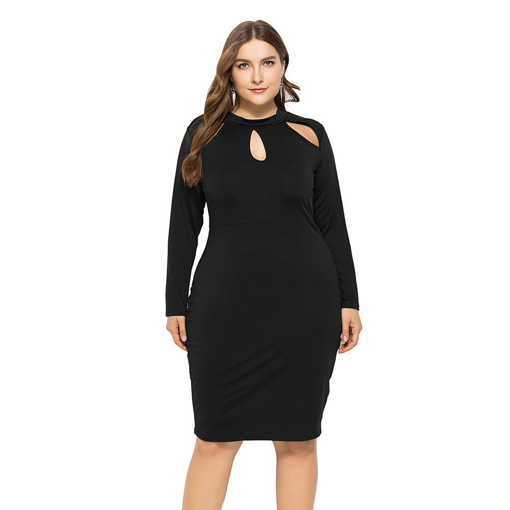 BeLady Winter Plus Size Strapless Long-Sleeved Solid Bodycon Stretch Club Dresses Black XL