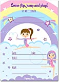 30 Gymnastics Birthday Invitations with Envelopes (30 Pack) - Kids Birthday Party Invitations for Girls - Bounce House - Trampoline