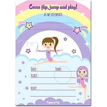 amazon com gymnastics birthday invitations with envelopes 15 count