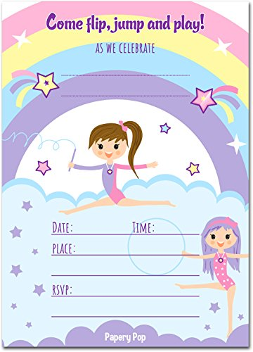 30 Gymnastics Birthday Invitations with Envelopes - Kids Birthday Party Invitations for Girls - Bounce House - (Gymnastics Birthday Party Invitation)