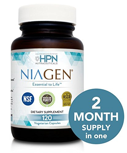 HPN Nutraceuticals Niagen Nicotinamide Riboside, Value Size, 2 Month Supply, a Trusted Chromadex Partner, NAD Plus Booster, Metabolic Repair, 250 mg per Serving, 120 Capsules by HPN Nutraceuticals