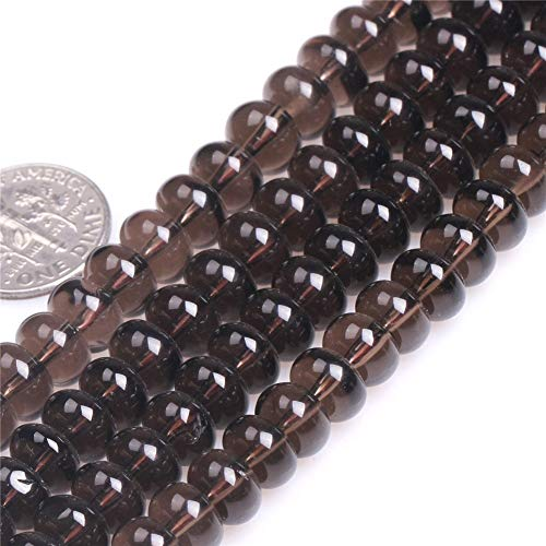 (4x6mm Rondelle Smoky Quartz Beads Loose Gemstone Beads for Jewelry Making Strand 15 Inch (98-100pcs) )