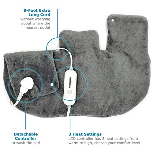 "Electric Neck and Shoulder Warmer Heating Pad (18""x25"") Gray - Fast-Heating Technology, 3 Heat Settings, Moist Heat Therapy Option, Fast Heating, Convenient Storage Bag"