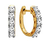 0.50 CT 14K Gold Round Diamond Ladies Huggies Hoop Earrings