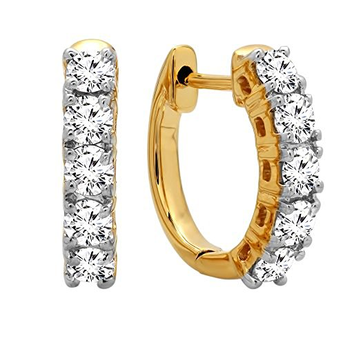 Dazzlingrock Collection 0.50 Carat (ctw) 18K Round White Diamond Ladies Huggies Hoop Earrings, Yellow Gold