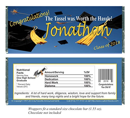Graduation Party Favors, Candy Bar Wrappers, fits a chocolate bar, Personalized (set of (Custom Chocolate Bar Wrappers)
