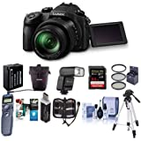 Panasonic Lumix DMC-FZ1000 Digital Camera - Bundle with 64GB SDXC Card, Case, Spare Battery, Tripod, Flashpoint Zoom-Mini TTL R2 Flash, Remote Shutter Release, 62mm Filter Kit, Software Pack and More
