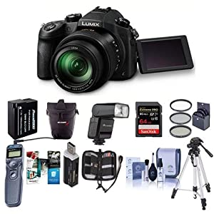 Panasonic Lumix DMC-FZ1000 Digital Camera – Bundle with 64GB SDXC Card, Case, Spare Battery, Tripod, Flashpoint Zoom-Mini TTL R2 Flash, Remote Shutter Release, 62mm Filter Kit, Software Pack and More
