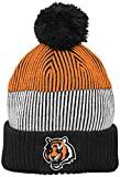 NFL Youth Boys Team Stripe Cuff Pom Hat-Black-1 Size, Cincinnati Bengals