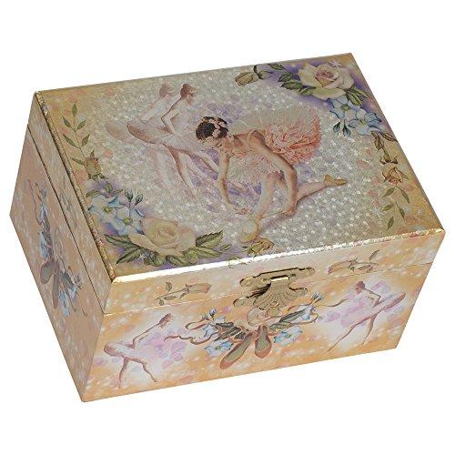 Splendid Music Box Co. Metallic Gold Tone Ballerina Lacing Slipper Papier Musical Jewelry Box Plays Swan Lake
