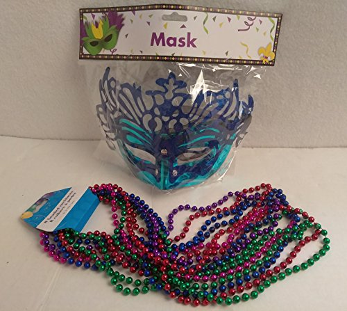 Masquerade Mardi Gras Party Mask Metallic Mardi Gras Beads Beaded Necklace Purple Gold Green Set BLUE (Homemade Teenage Girl Halloween Costumes Ideas)