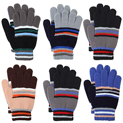 Coobey 6 Pairs Children Warm Stretch Gloves Winter Knitted Stripe Magic Gloves for Boys or Girls (12-14 Years, Mixed 6 colors B)