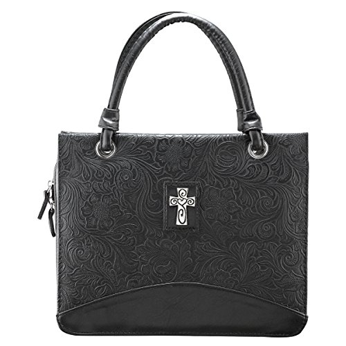 Damask Embossed Purse-Style Bible / Book Cover w/Cross (Large) (Bible Purse)