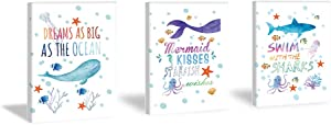 Sea Life Art Print Funny Inspirational Lettering Painting Set of 3 Pieces (11.8x15.6inch)Canvas Watercolor Starfish Mermaid Seahorse Pictures With Framed Ready to Hang for Kids Room Nursery Decor