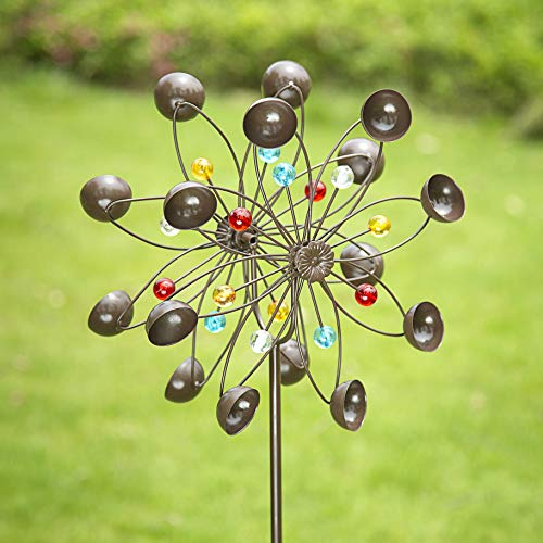 GIGALUMI Yard Wind Spinner, Copper Metal Garden Spinner Dual Rotors Wind Sculpture for Outdoor Décor, Gardening Gifts or Yard Art (Bronze)