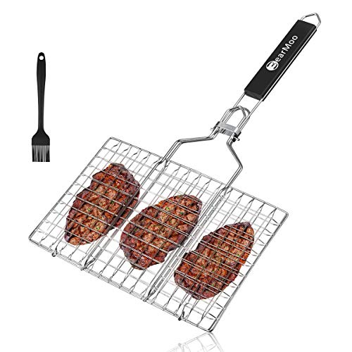 - BearMoo Portable Stainless Steel BBQ Barbecue Grilling Basket with Removeable Handle for Fish, Vegetables, Steak, Shrimp, Meat, Food. Useful BBQ Tool【Bonus an Additional Sauce Brush + Carrying Pouch】