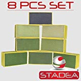 STADEA Diamond Hand Polishing Pads for Stone/Concrete - Set of 8 Pcs