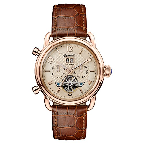 Ingersoll Men's Automatic Stainless Steel and Leather Casual Watch, Color:Brown (Model: I00901)