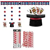 Magic Birthday Party Supply Pack: Straws, Party Banner, Dizzy Danglers, and Honeycomb Centerpiece