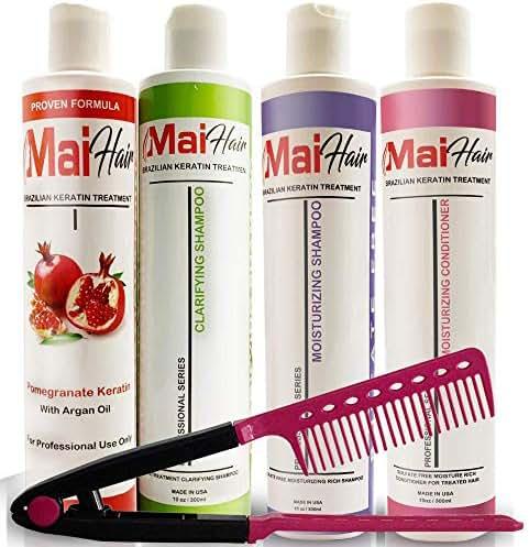 Complex Brazilian Keratin Treatment – Clarifying Shampoo – Moisturizing Shampoo and Conditioner for Keratin Treated Hair Set of 4 Bottles and Easy Comb (10 ounce/300ml)