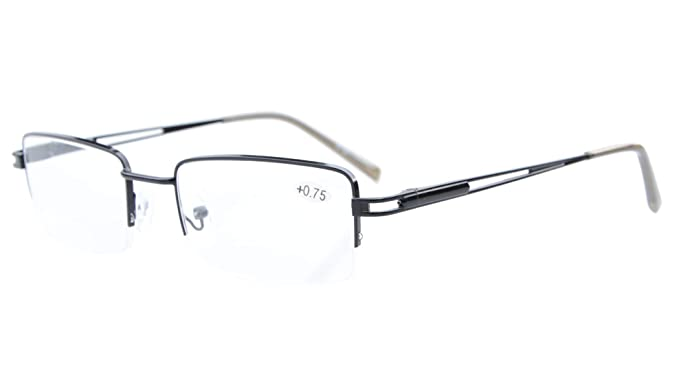 fe5a7c4a5145 Eyekepper Readers Rectangle Half-Rim Spring Temples Reading Glasses   Amazon.co.uk  Clothing