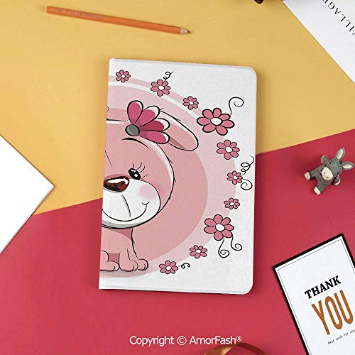 for Galaxy Tab S3 9.7,TPU Silicone Case for Samsung Galaxy Tab S3 T820 / T825,Dog,Cute Little Puppy with Daisy Flowers Cheerful Adorable Pet Girls Room Decor,Light Pink Coral White