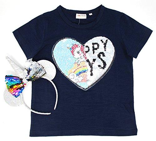 Unicorn Flip Sequin Girl's T-Shirt with Flip Sequin Unicorn Headband 4-12 Years (12, (Change Kids Light T-shirt)