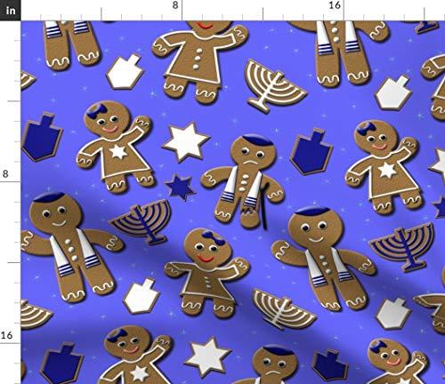 Hanukkah Fabric - Gingerbread Hanukkah Holiday Cookie Hanukkah Jewish Gingerbread Festival of Print on Fabric by The Yard - Sport Lycra for Swimwear Performance Leggings Apparel - Hanukkah Cookie