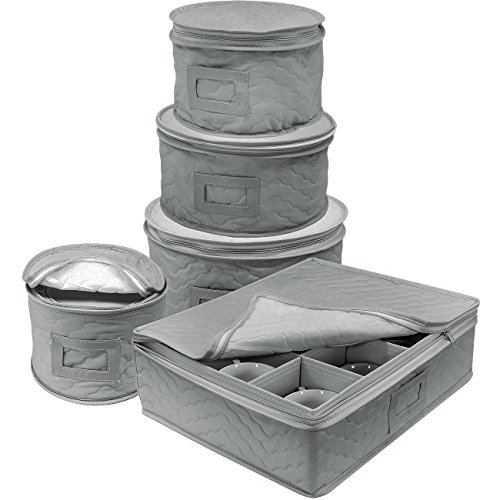 orage 5-Piece Set for Protecting or Transporting Dinnerware — Service for 12 — Round Plate and Cup Quilted Protection, Felt Protectors for Plates, Fine China Case (Gray) ()