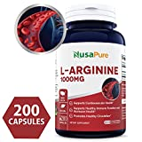 Best L-Arginine 1000 mg 200 capsules (NON-GMO & Gluten Free) Amino Acid Arginine HCL Supplements for Women & Man – Supports Circulation and Cardiovascular Health – 100% MONEY BACK GUARANTEE!