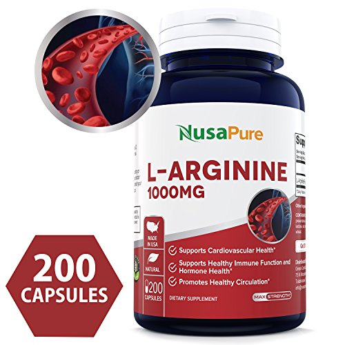 L-Arginine 1000 mg 200 Capsules (Non-GMO & Gluten Free) Amino Acid Arginine HCL Supplements for Women & Man - Supports Circulation and Cardiovascular Health - 100% Money Back Guarantee!