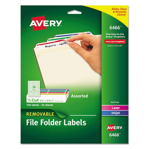(Avery® Removable File Folder Labels LABEL,F/FLDR,25SH/PK,AST (Pack of5))
