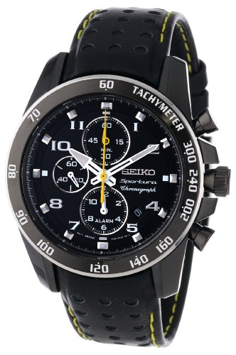 Seiko Sportura Black Dial Black Leather Band Mens Watch (Band Men Seiko Watch Leather)