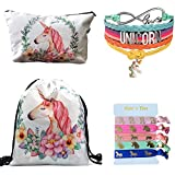 Unicorn Gifts 4 Pack - Unicorn Drawstring Backpack/Makeup Bag/Bracelet/Hair Tie (White)