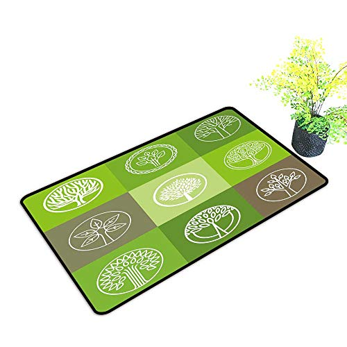 gmnalahome Front Welcome Entrance Door Mats Tree Logo organicdesign Element eco bio Circle Badge Home Decor Rug Mats W21 x H11 ()