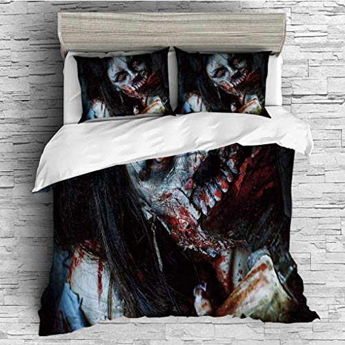 (3 Pieces/All Seasons/Home Comforter Bedding Sets Duvet Cover Sets for Adult Kids/Single/Zombie Decor,Scary Dead Woman with Bloody Axe Evil Fantasy Gothic Mystery)