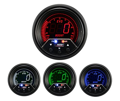 NEW Boost Gauge- Electrical Digital Green/white/red/blue Premium EVO Series 52mm (2 ()