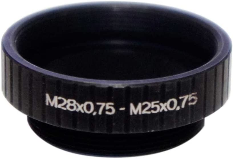 M28x0.75 Female to M25x0.75 Male Thread Adapter Black