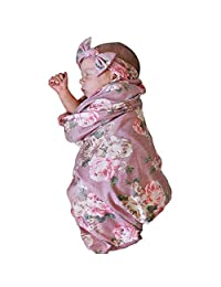 Newborn Receiving Blanket Headband Set Floral Printed Baby Swaddle Receiving Blankets for 0-3 Months Baby Shower Gift(Pink)