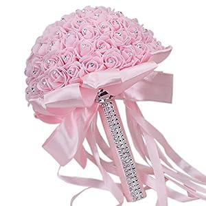 Vipe Handmade Crystal Bridal Wedding Bouquet Silk Flower Bridesmaid Foam Brooch (Pink 2) 27