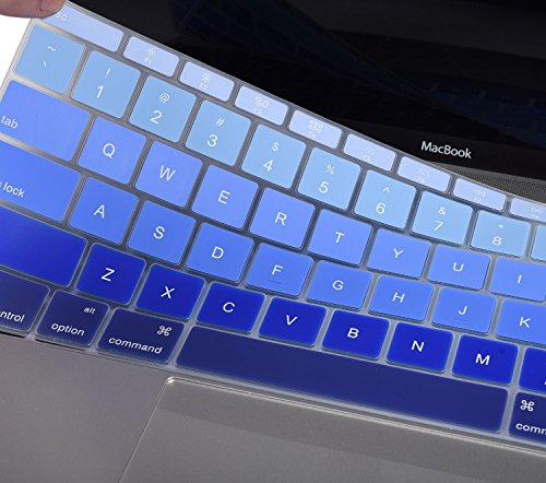 For New MacBook Keyboard Cover for MacBook Pro 13 Inch A1708 2018 2017 2016 Release No Touch Bar & MacBook 12 Inch A1534 Anti Dust Waterproof Protective Skin, Ombre Blue