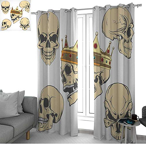 NUOMANAN Blackout Lined Curtains Skull,Skulls Different Expressions Evil Face Crowned Death Monster Halloween Print,Sand Brown Yellow,Thermal Insulated,Grommet Curtain Panel Set of 2 -