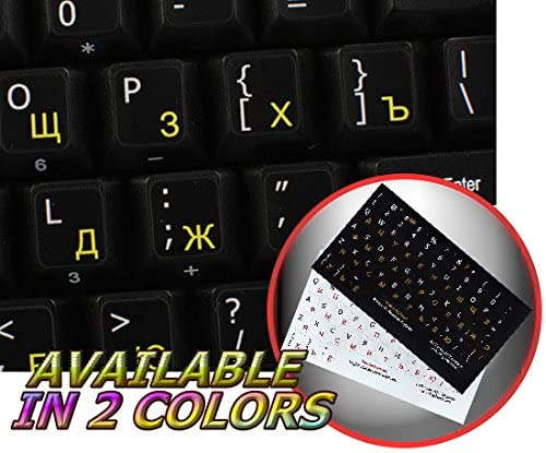 NON-TRANSPARENT KEYBOARD STICKERS ON BLACK BACKGROUND FOR LAPTOP MAC ENGLISH UPPER AND LOWER LETTERS DESKTOP AND NOTEBOOK