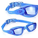 Swim Goggles, Aegend Clear Swimming Goggles No Leaking Anti Fog UV Protection Triathlon Swim Goggles with Free Protection Case for Adult Men Women Youth Kids Child, Blue